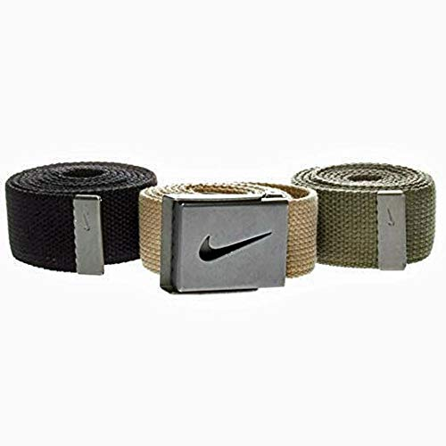 Nike Men's Standard 3 Pack Web Belt, black/cargo khaki/khaki, One Size