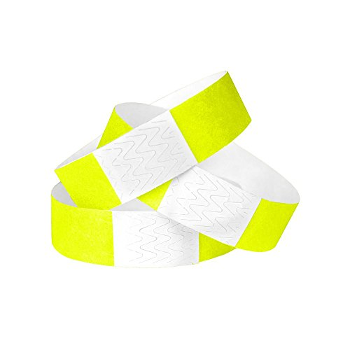 WristCo Neon Yellow 3/4 Inch Tyvek Unnumbered 500 Count Paper Wristbands for -