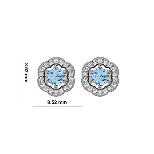 Libertini Boucle d'oreille argent 925 plaque or Jaune serti de Diamant et Aigue-marine en fArgentme de Fleur