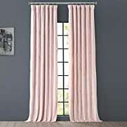 Half Price Drapes Vpyc-161207-96 Heritage Plush Velvet Curtain, 50 x 96, Ballet Pink
