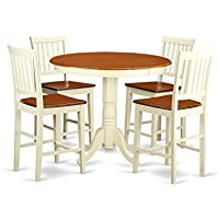East West Furniture JAVN5-WHI-W 5-Piece Counter Height Dining Table Set