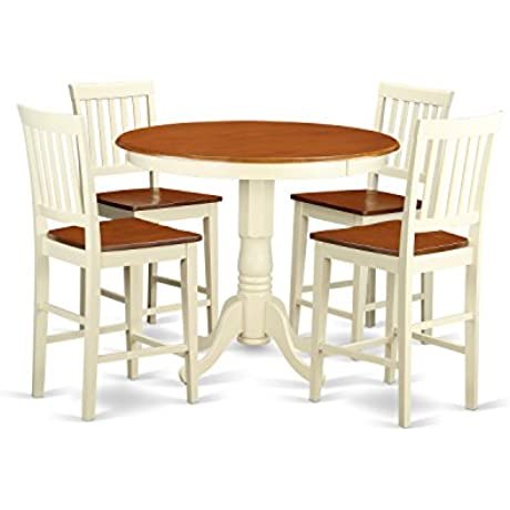 East West Furniture JAVN5 WHI W 5 Piece Counter Height Dining Table Set