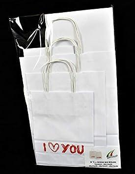 Bolsa papel Kraft blanca con ASA Trenzado varias medidas con ...