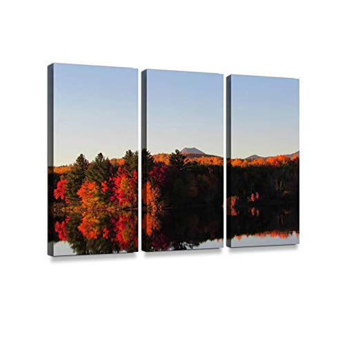 (Autumn in Peak, Baxter State Park Maine3 Pieces Print On Canvas Wall Artwork Modern Photography Home Decor Unique Pattern Stretched and Framed 3)