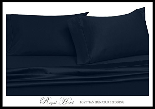 Royal Hotel's Solid Navy 600-Thread-Count 4pc King WATERBED SHEETS, 100-Percent Cotton, Sateen Solid, Deep Pocket