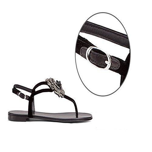 artificial cuero 2017 del tanga palabra zapatos de diamante Bohemia planos hebilla del nuevo LIVY hembra verano Negro zapatos hueca zxHFqA