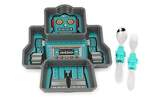 KidsFunwares Me Time Meal Set (Robot) – 3-Piece Set for Kids and Toddlers – Plate, Fork and Spoon that Children Love - Sparks your Childs Imagination and Teaches Portion Control - Dishwasher Safe