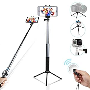 Selfie stick, Extendable monopod with 360 rotation tripod and wireless remote for for iPhone & Android phones, digital cameras and GoPro