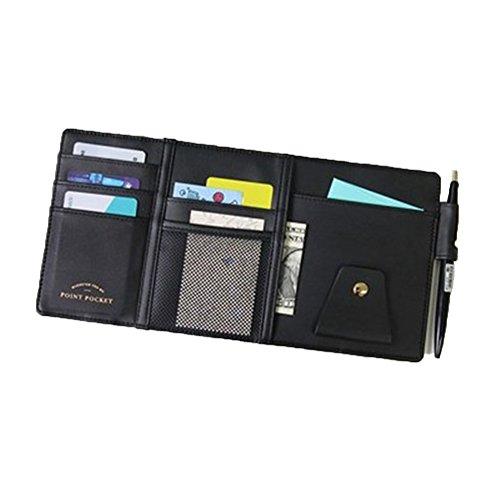 AUTO ACCESSORIES Car Sun Visor Multi-Pocket Card Sunglasses Holder Bag Organizer (Black)