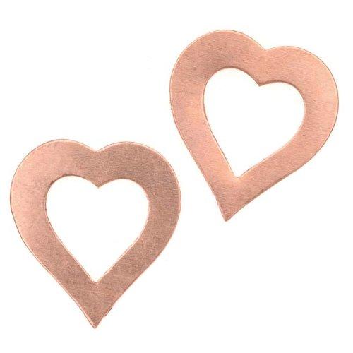 Beadaholique Copper Open Heart Blanks 21.5x19.5mm 22 Gauge Thick ()