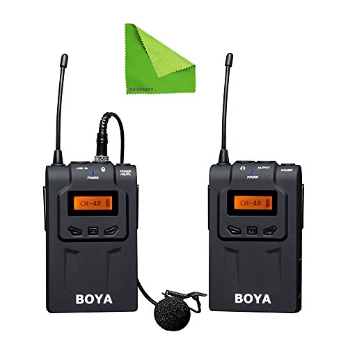EACHSHOT BOYA BY-WM6 UHF Professional Omni-Directional Lavalier Wireless Microphone Recorder System for ENG EFP DV DSLR Camera Camcorders With EACHSHOT Cleaning Cloth