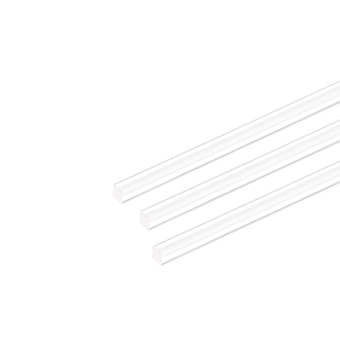 3mm 5pcs Sourcing Map Tige en plexiglas acrylique carr/ée Transparent 25,4 cm