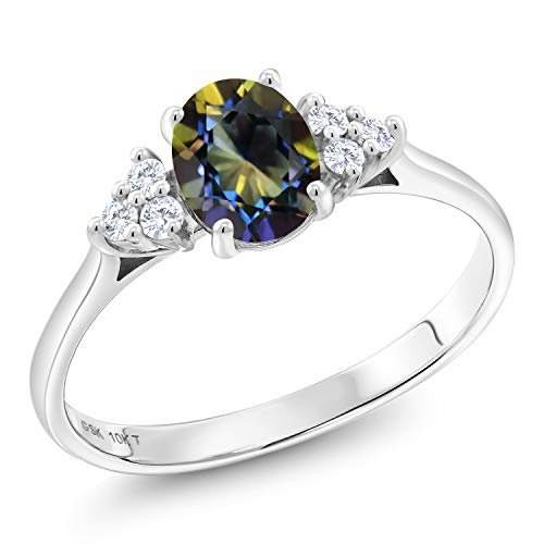 (1.07 Ct Oval Blue Mystic Topaz G/H Lab Grown Diamond 10K White Gold Ring (Size 6))