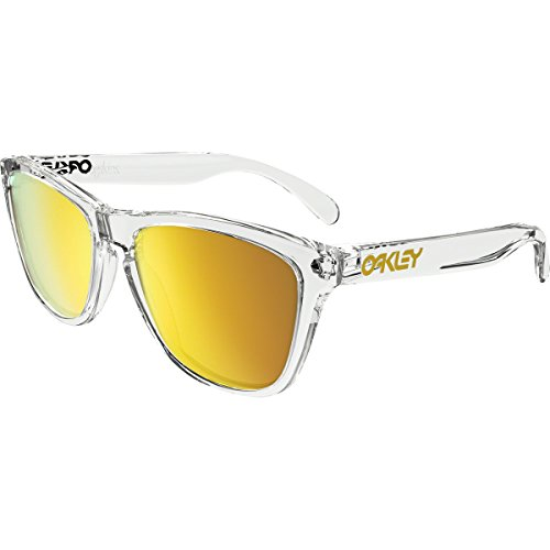 Oakley Men's Frogskins (a) Non-Polarized Iridium Rectangular Sunglasses, Polished Clear, 54 - Oakley Clear Frogskins