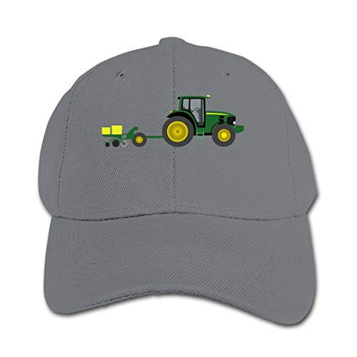 - Interesting Tractor with Planter Pure Color Peaked Caps Trucker Baseball Hat Gray