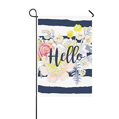 Pillow Bouquet Top (RYUIFI Home Decorative Outdoor Double Sided Delicate Bouquet On Striped Nautical Garden Flag,House Yard Flag,Garden Yard Decorations,Seasonal Welcome Outdoor Flag 12 X 18 Inch Spring Summer Gift)