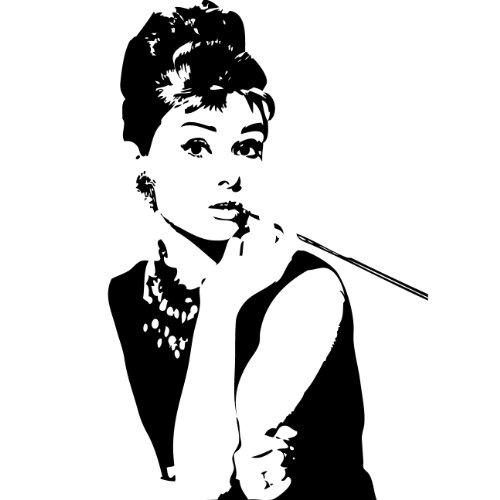 Wall Sticker Decal - Audrey Hepburn Breakfast at Tiffany's Silhouette Decoration (Glossy Black Vinyl) 48 In