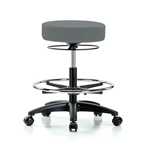 Perch Stella Rolling Height Adjustable Salon & Spa Stool with Footring for Hardwood or Tile | Workbench Height 21-28.5 Inches | 300-Pound Weight Capacity | 12 Year Warranty (Cinder Fabric)