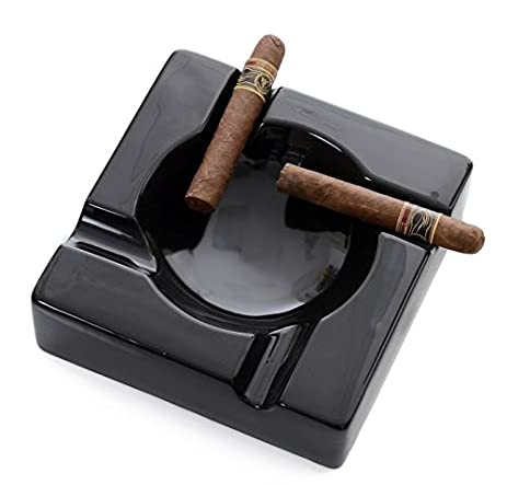 Mantello Cigars Large Black Cigar Ashtray For Patio / Outdoor Use   8u0026quot;