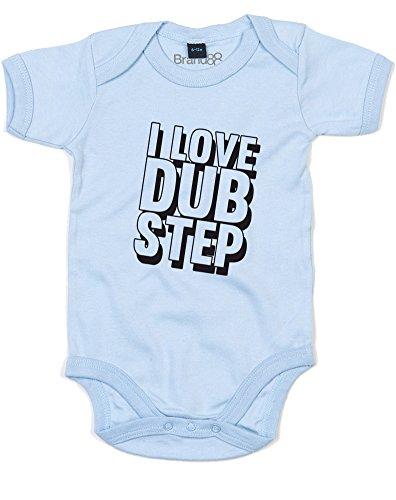 I Love Dub Step, Baby Grow - Dusty Blue/Black 0-3 Months