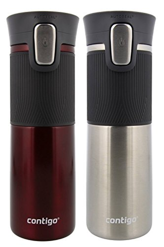 (Contigo AUTOSEAL Vacuum Insulated, Stainless Steel Travel Mug, 2 Pack - Keeps Drinks Hot and Cold, Autoseal Button Prevents Spills - No-Slip Comfort Grip - Spiced Wine/ Stainless Steel - 16 Ounces)