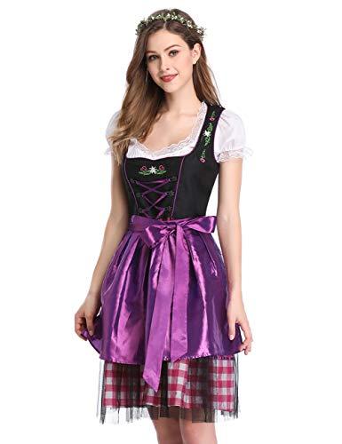 GloryStar Women's German Dirndl Dress 3 Pieces Oktoberfest Costumes (L, Mesh-Purple-Two) ()