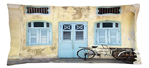 Urban Throw Pillow Cushion Cover by Lunarable, Traditional House Facade with Colorful Door Windows Old Street Malaysia Photo, Decorative Square Accent Pillow Case, 36 X 16 Inches, Baby Blue - Pictures Malaysia Country
