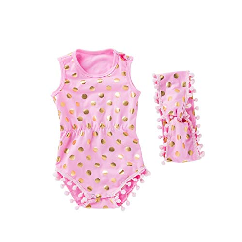 (MOGOV Baby Girl Sleeveless Wave Point Print Shell Romper Tops+Headbands Fringe Ball Decoration Set Outfit Pink)