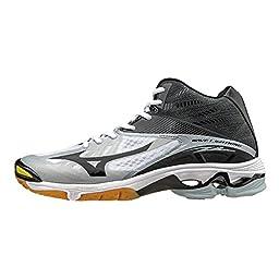 Mizuno Men\'s Wave Lightning Z2 Mid Volleyball Shoe, White/Black, 15 D US