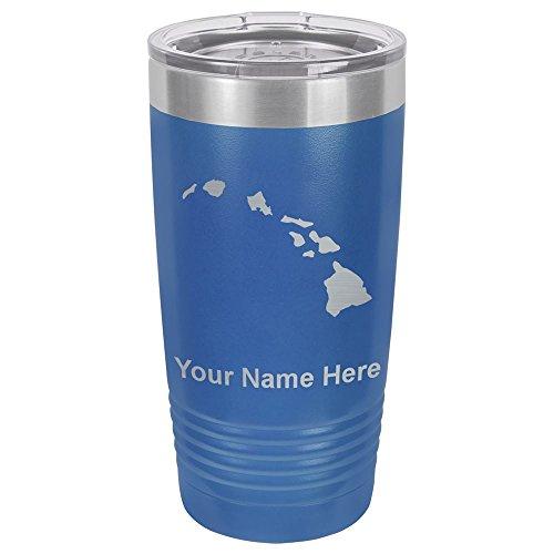 20oz Tumbler Mug, Hawaiian islands, Personalized Engraving Included (Dark Blue) by SkunkWerkz