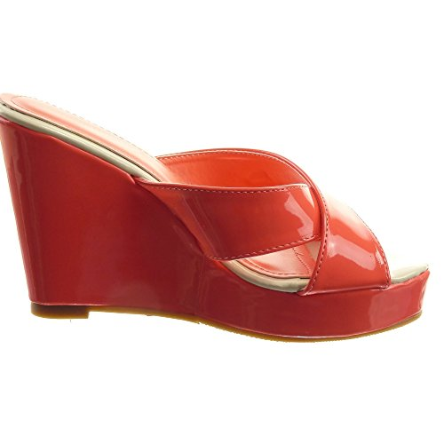 Sopily - Zapatillas de Moda Sandalias Abierto Zapatillas de plataforma Caña baja mujer brillantes metálico Talón Plataforma 11 CM - Rosa