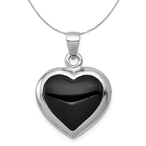 Silver, Onyx & Mother of Pearl Reversible Heart 17mm Necklace - 18 In