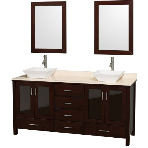 Wyndham Collection Lucy 72 inch Double Bathroom Vanity in Espresso with Ivory Marble Top with White Porcelain Sinks by Wyndham Collection (Image #4)