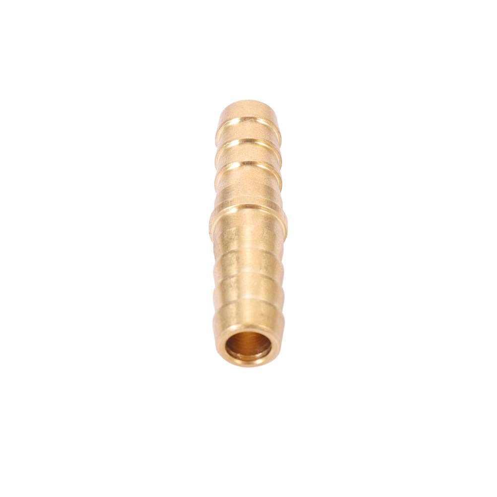 5, 3//8 Barb x 3//8 Barb 3//8 Inch Brass Barb Hose Splicer Mender Fitting Pipe 3//8 x 3//8 Hose ID Connector Adapter for Fuel Air Water Gas Oil