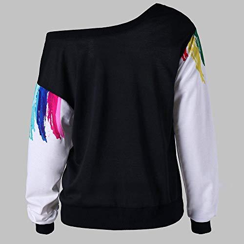 Tops Streetwear Chic Pullover Chemisier Chemise Epaule Manches Manteau Sweat Imprim Femmes Haute Shirt Blouse Kangrunmy White Sweat Pull Haut Veste Longues Denudee qPgAKx