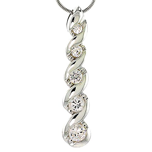 Pendant Graduated Journey (Sterling Silver Graduated Journey Pendant w/ 5 CZ Stones, 1 7/8