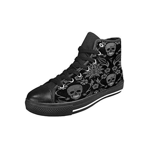 INTERESTPRINT Women's High Top Trainers Casual Walking Shoes Grey Skull US10