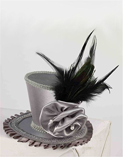 Grey Rose Mini Top Hat (Top Hats Fancy Dress)