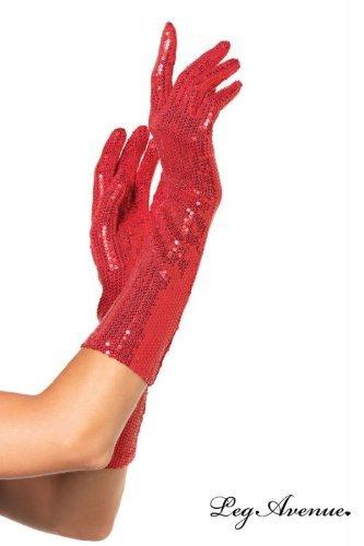 Leg Avenue Women's Sequin Elbow Length Gloves, Red, One (Leg Avenue Elbow)