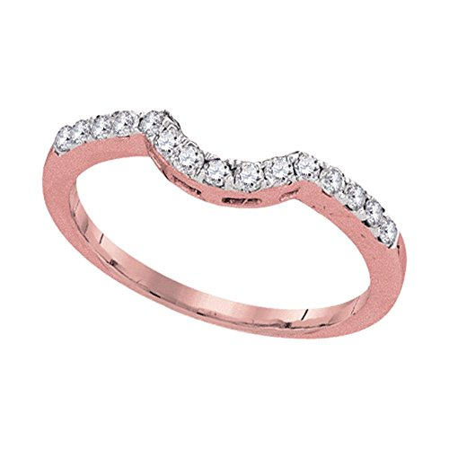 14kt Rose Gold Womens Round Diamond Contoured Wedding Enhancer Band Ring 1/4 Cttw Ring Size 7