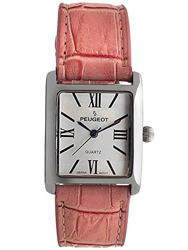 Peugeot Women's Silver-Tone Tank Shape Leather Dress Watch with Roman Numerals, ()