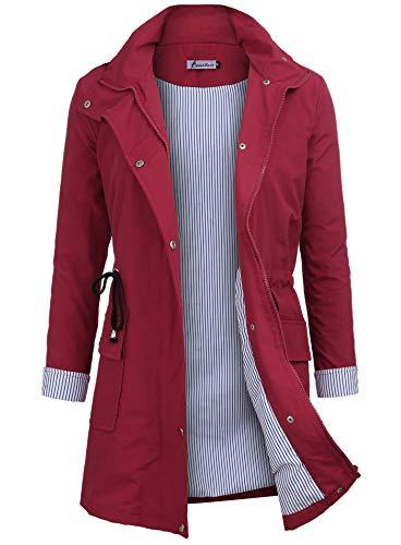 Twinklady Rain Jacket Women Windbreaker Striped Climbing Raincoats Waterproof Lightweight Outdoor Hooded Trench Coats Red ()