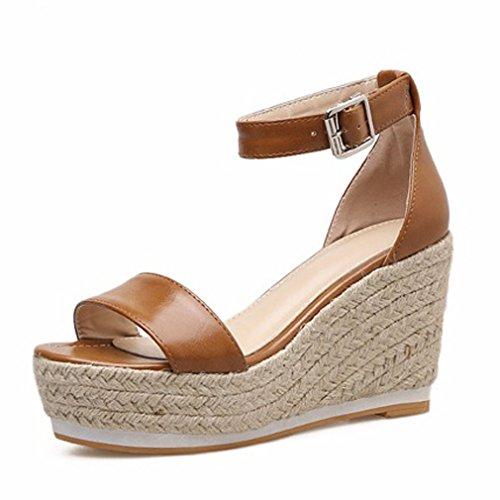 Impermeable con Zapatos Nuevas Hebilla de de Palabra de con Xianshu Marrón Sandalias Tacón Word Plataforma One Alta Mujer de Cuña 0zwOqE
