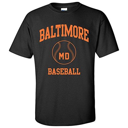 - Baltimore Classic Baseball Arch Basic Cotton T-Shirt - X-Large - Black