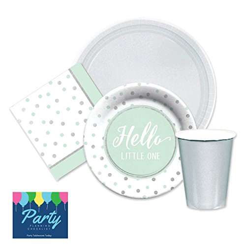 Elegant-Hello-Little-One-Green-Silver-Baby-Shower-Party-Supplies-for-16-Dinner-Plates-dessert-plates-napkins-paper-cups