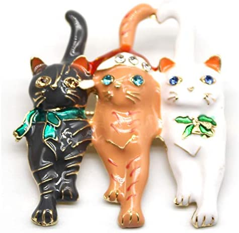 Charmant『クリスマスブローチ』レディースブローチ 淡水パール ジルコニ レディース (05 3匹の子猫ちゃん)