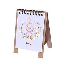 YeahiBaby Desk Cartoon Calendar 2019 Mini Desktop Kraft Calendar Year Book Desk Calendar (Porket Picture)