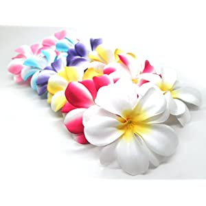 "(100) Assorted Hawaiian Plumeria Frangipani Silk Flower Heads - 3"" - Artificial Flowers Head Fabric Floral Supplies Wholesale Lot for Wedding Flowers Accessories Make Bridal Hair Clips Headbands Dress 4"