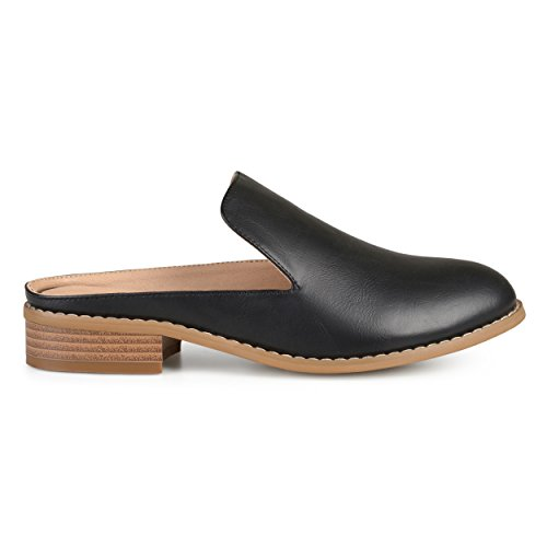 Brinley Co Womens Slide-On Stacked Heel Comfort-Sole Faux Leather Mules Black