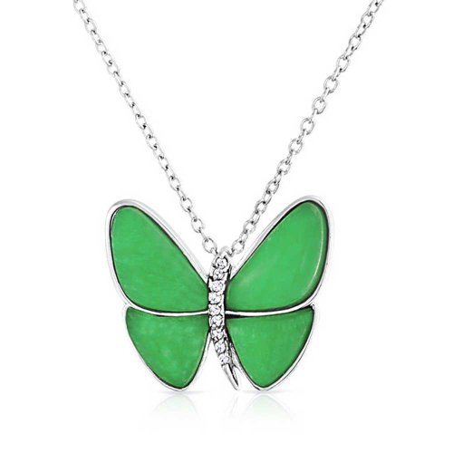 Bling Jewelry Butterfly Dyed Green Jade Pendant 925 Sterling Silver Garden Necklace for Women for Girlfriend with Chain